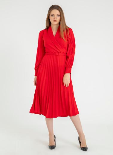 Foremia Atlas Kol Ve Eteği Piliseli Ceket Yaka Elbise Kırmızı